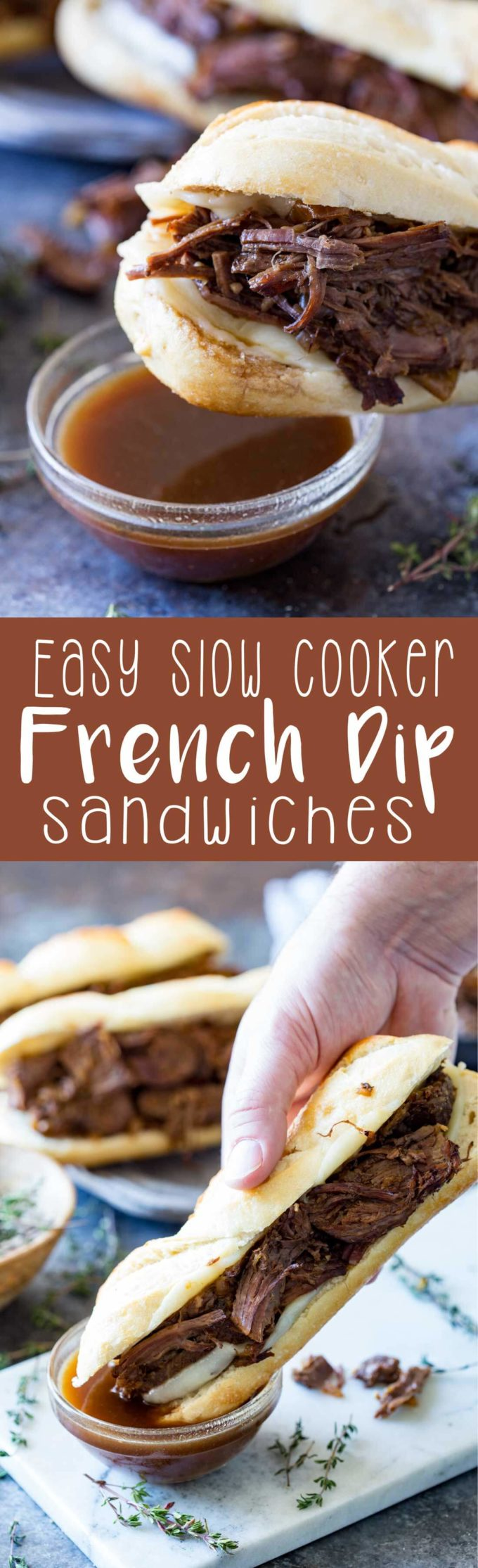 French dip sandwich prepared in a slow cooker for the most tender, most flavorful, most delicious sandwich you have ever eaten.