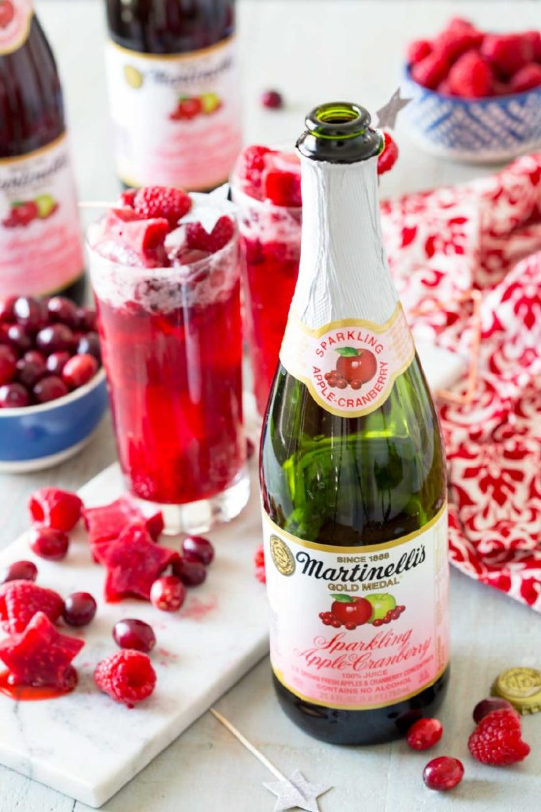 Matinellis is used in this cran apple raspberry sparkling brunch punch