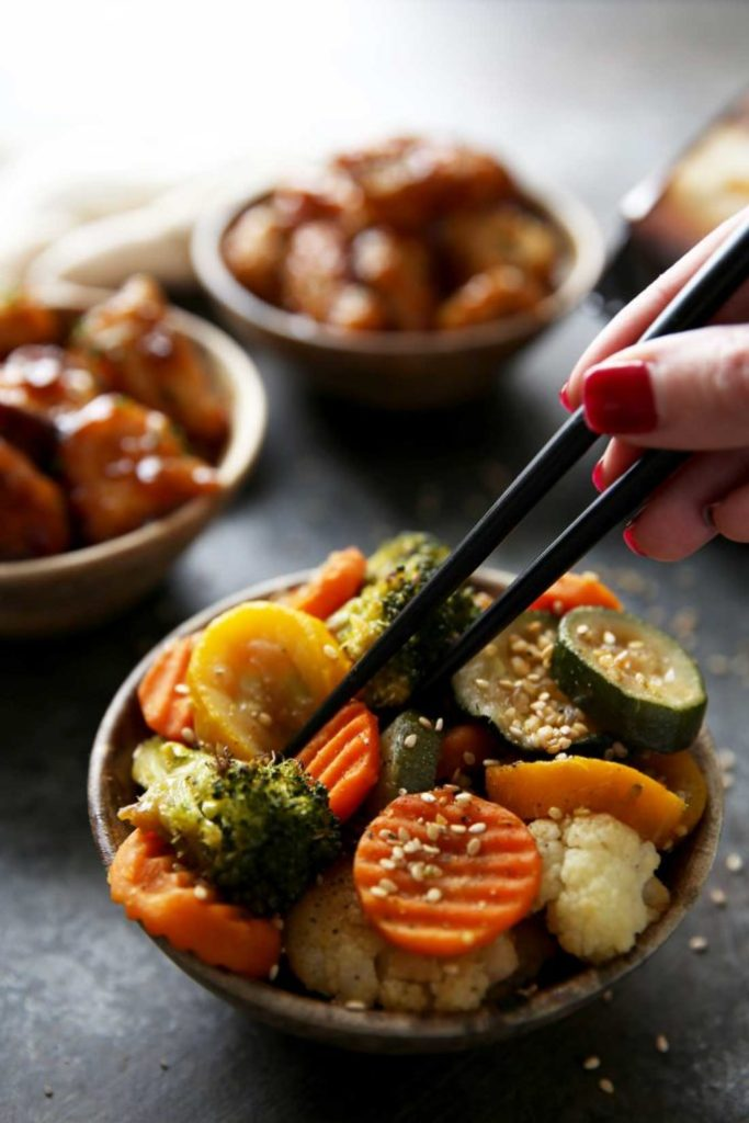 Asian inspired roasted veggies
