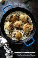 Skillet Chicken Thighs with Creamy Rosemary and Mushroom sauce