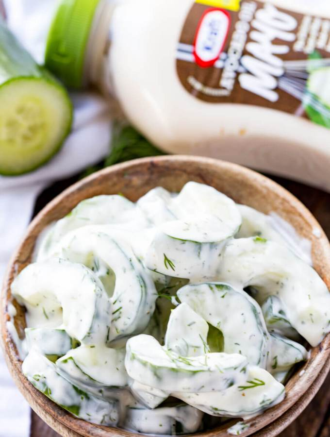 Creamy Cucumber Salad: The perfect side for a BBQ, this garden fresh cucumber salad is amazing.