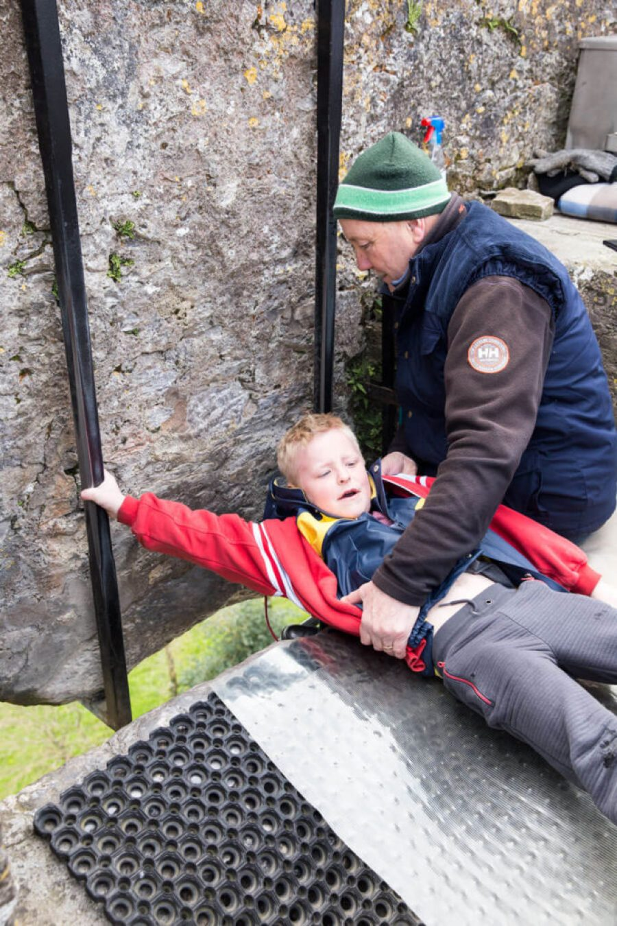 Derrick to scared to kiss the Blarney Stone in Ireland Cork County