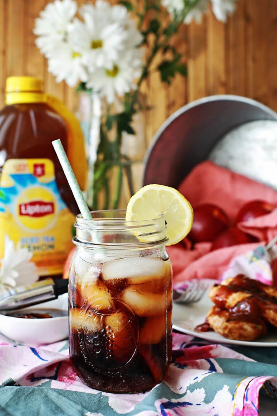 sweet iced tea with grilled chicken in an easy peach bbq sauce