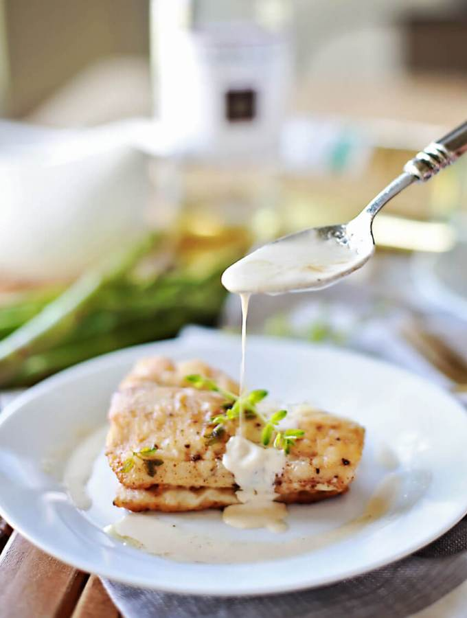 Flaky haddock pan fried, and served with a browned butter white wine sauce