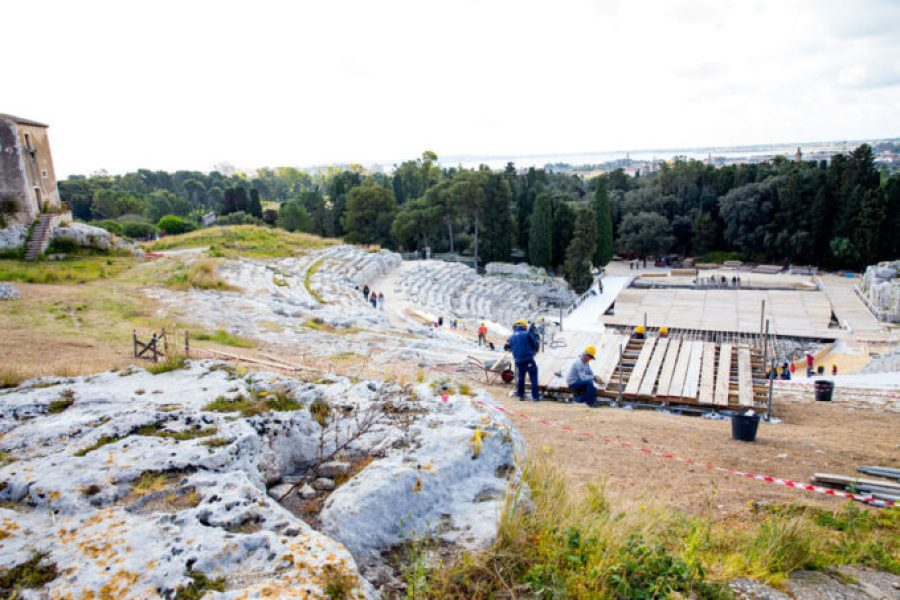 Archeological park in Siracusa Italy, greek and roman amphitheaters