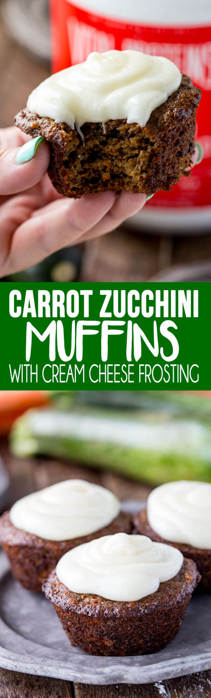 Carrot Zucchini Muffins with a cream cheese frosting that is optional, but makes it even that much more awesome