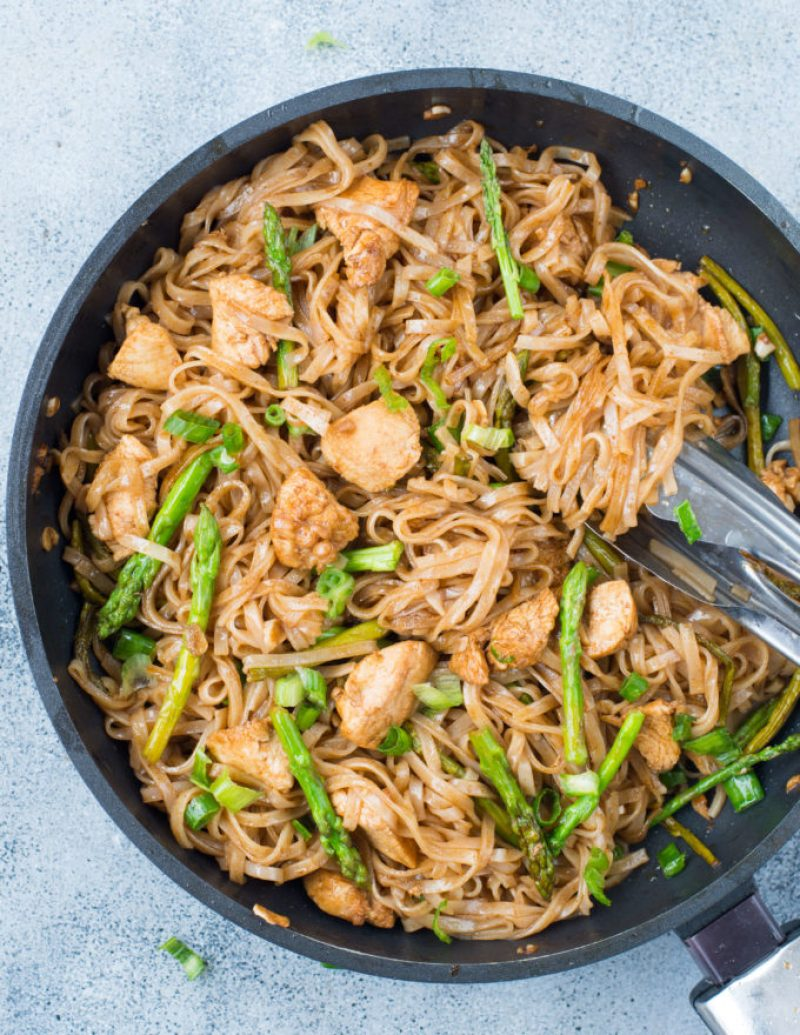 Chicken Asparagus Stir Fry Noodles is a quick stir fry recipe with bursting Asian flavors. All you will need is one pan and less than 30 minutes to make a delicious weeknight dinner. While Chicken and asparagus works as a wonderful combination, you add any vegetable of your choice.