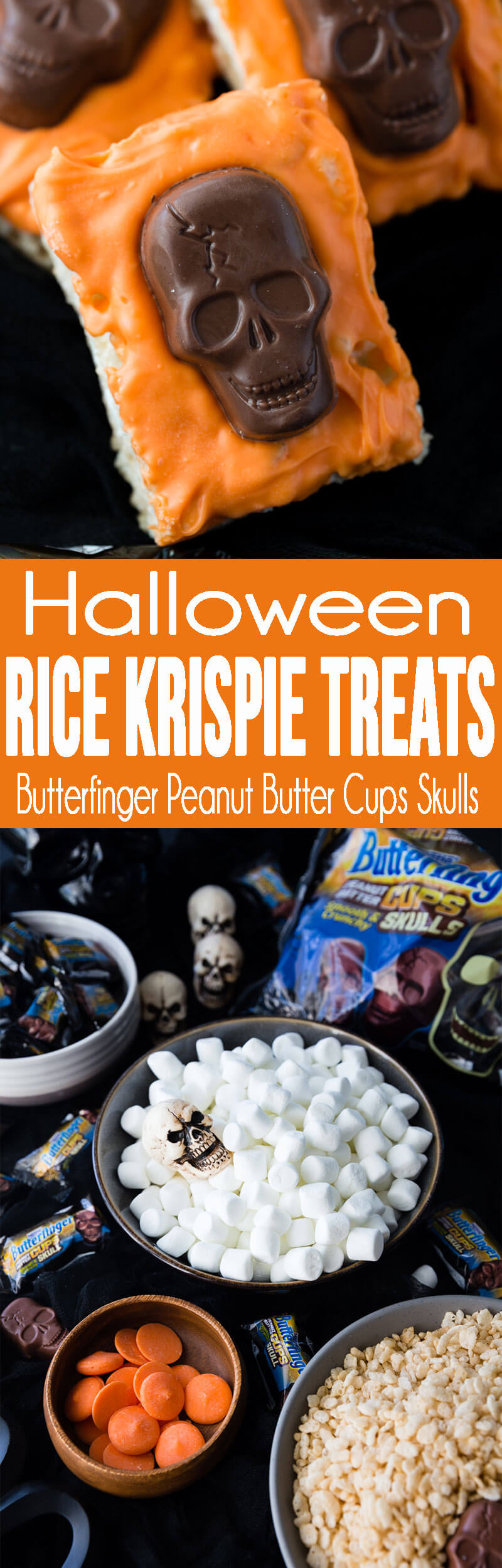 How to make Halloween Rice Krispie Treats with Butterfinger Peanut Butter Skulls