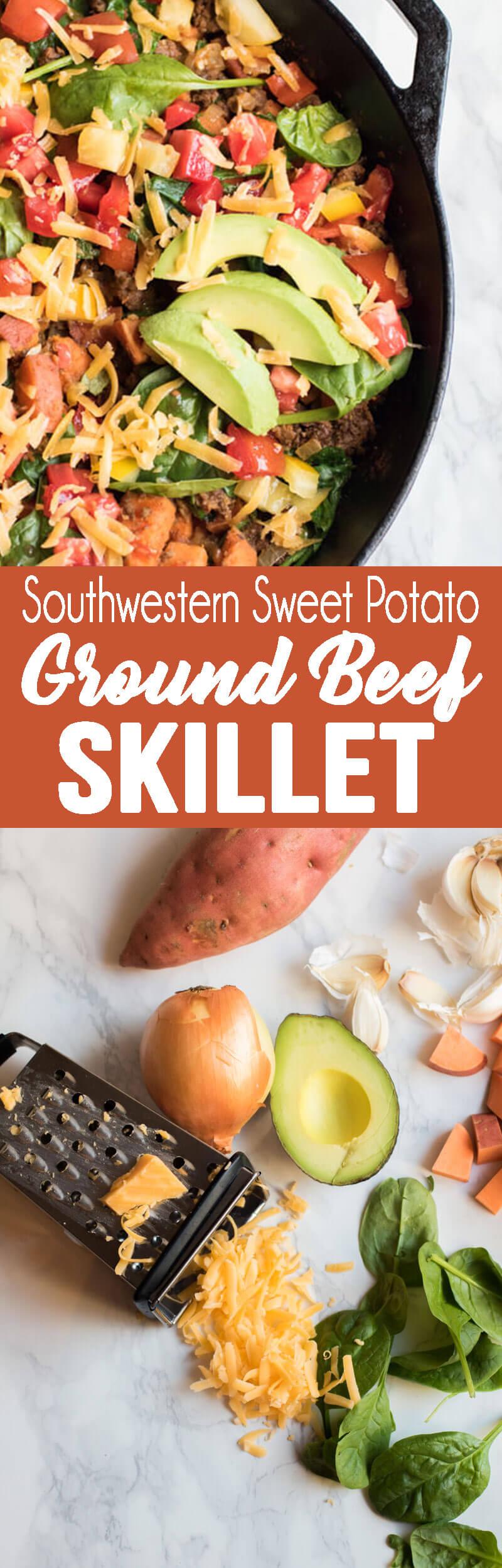 Southwestern sweet potato ground beef skillet