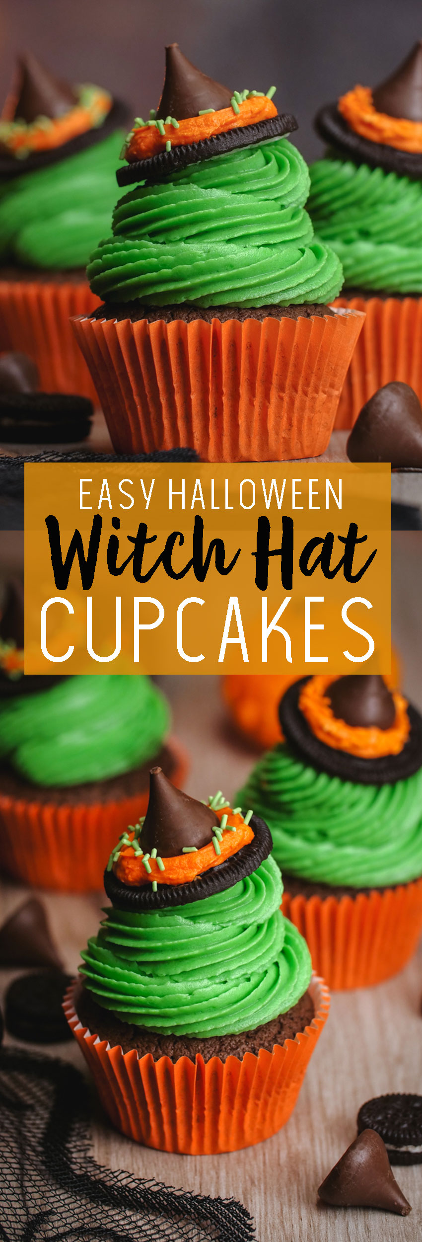 Easy to make witches hat cupcakes for Halloween