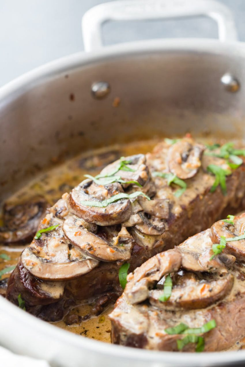 Steak With Garlic Mushroom Cream Sauce Easy Peasy Meals