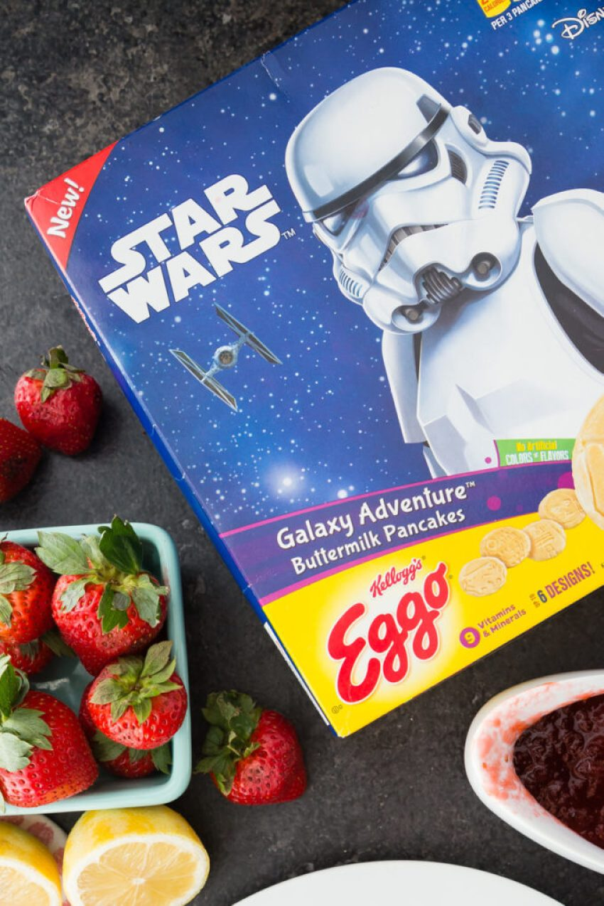 Star Wars pancakes made with natural ingredients and topped with easy strawberry syrup