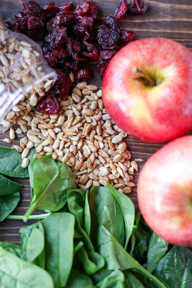 Apple Spinach Salad with Balsamic Vinegar Dressing