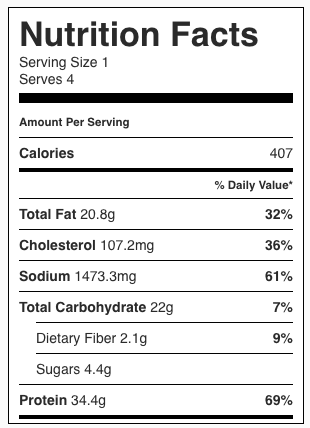 Creamy French Onion Beef and Noodles Nutrition Facts