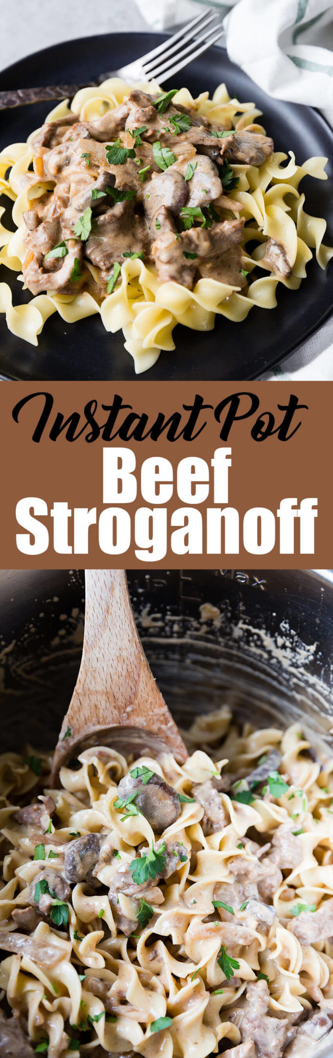 Instant Pot Beef Stroganoff: tender flavorful beef, hearty and creamy sauce, and plenty of mushrooms make this easy beef stroganoff an instant pot pressure cooker classic.