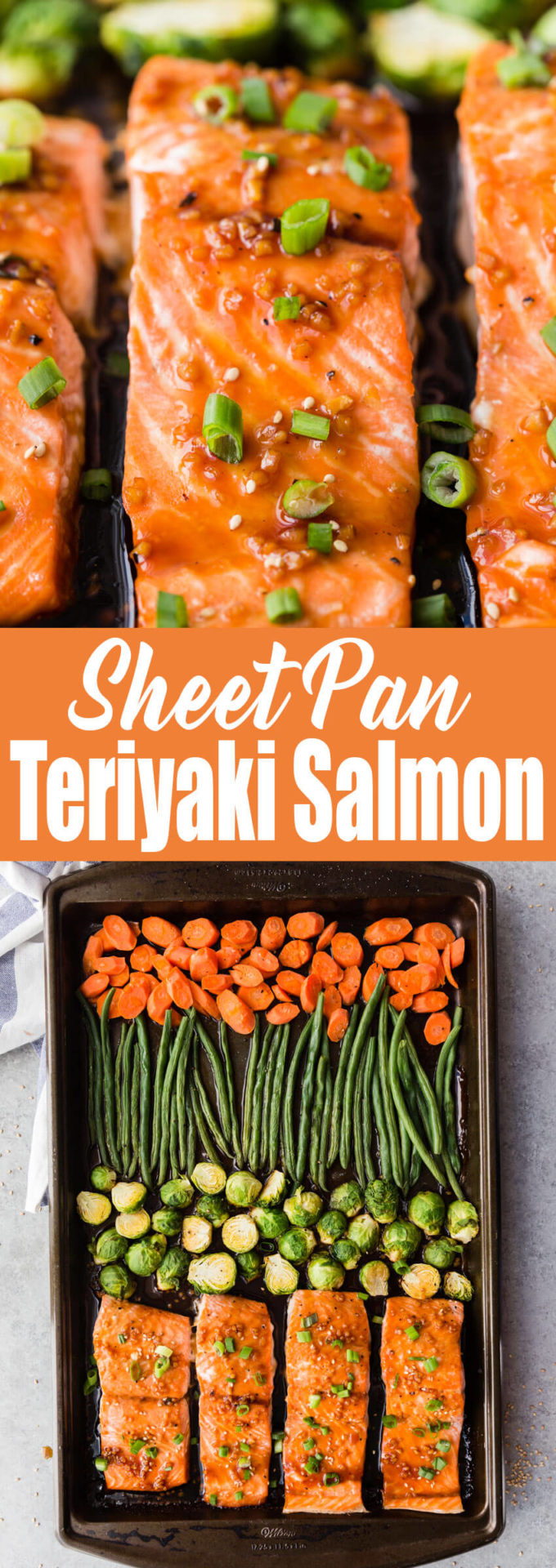 Teriyaki Salmon: An easy and flavorful meal prep dish with very little clean up! You get flaky, delightful salmon, and roasted veggies.