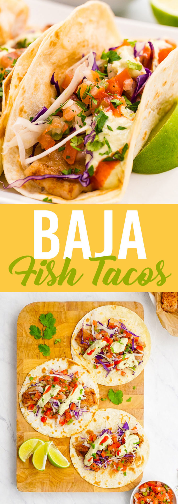 These lightened up Baja fish tacos boast huge flavors without the battering or deep frying. Delicious baked fish, pico, and avocado creme.
