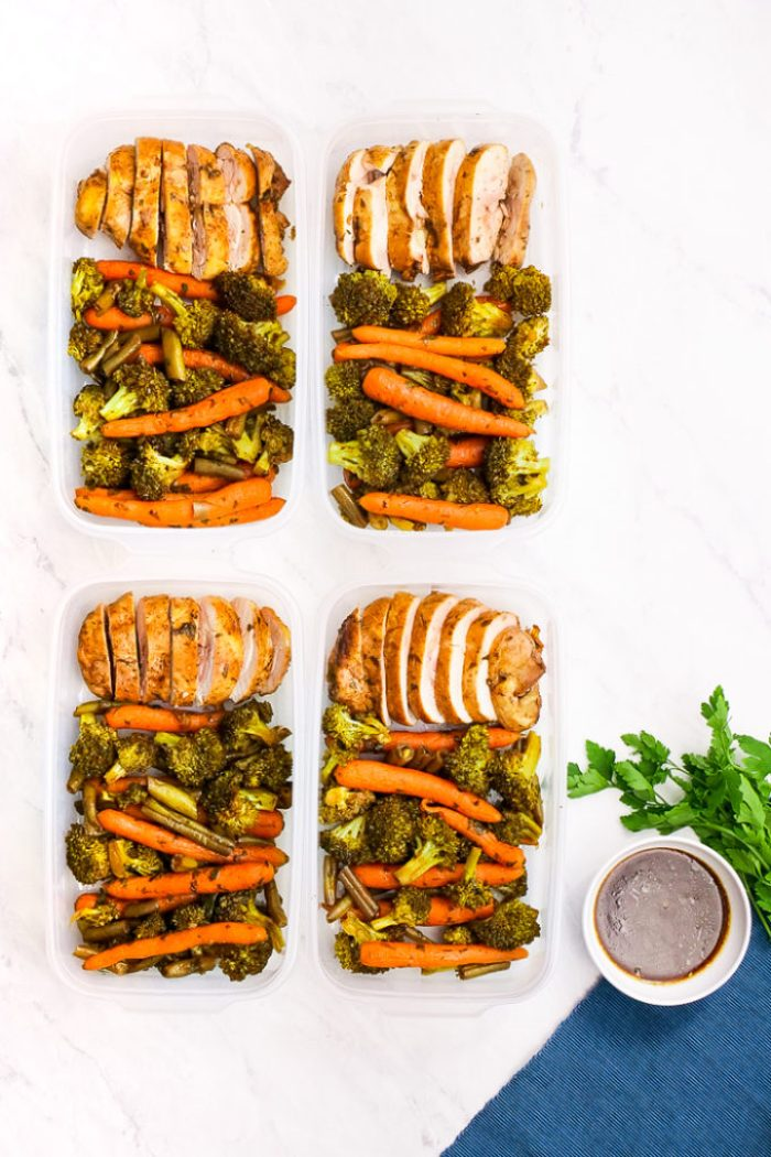 Chicken Meal Prep: Balsamic Chicken and veggies, cooked on a sheet pan