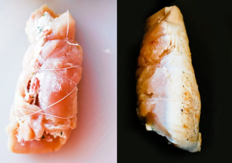 Cream cheese stuffed chicken breasts, seared in a pan