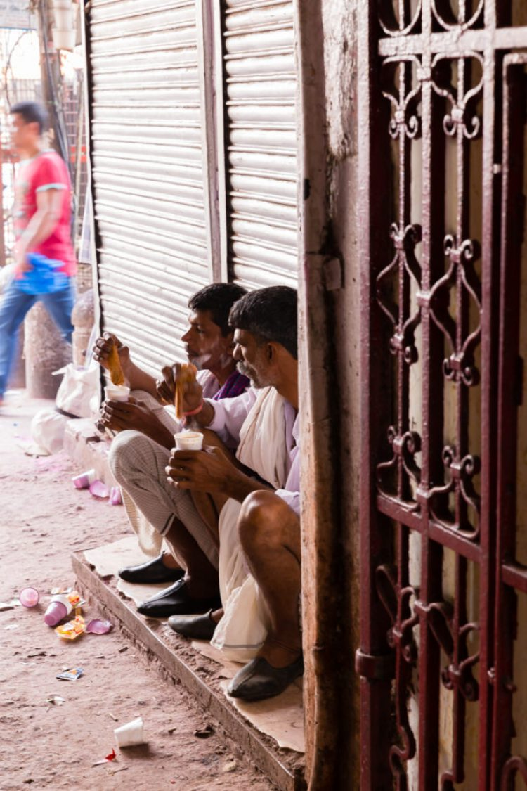 Afternoon snack break in Old Delhi India