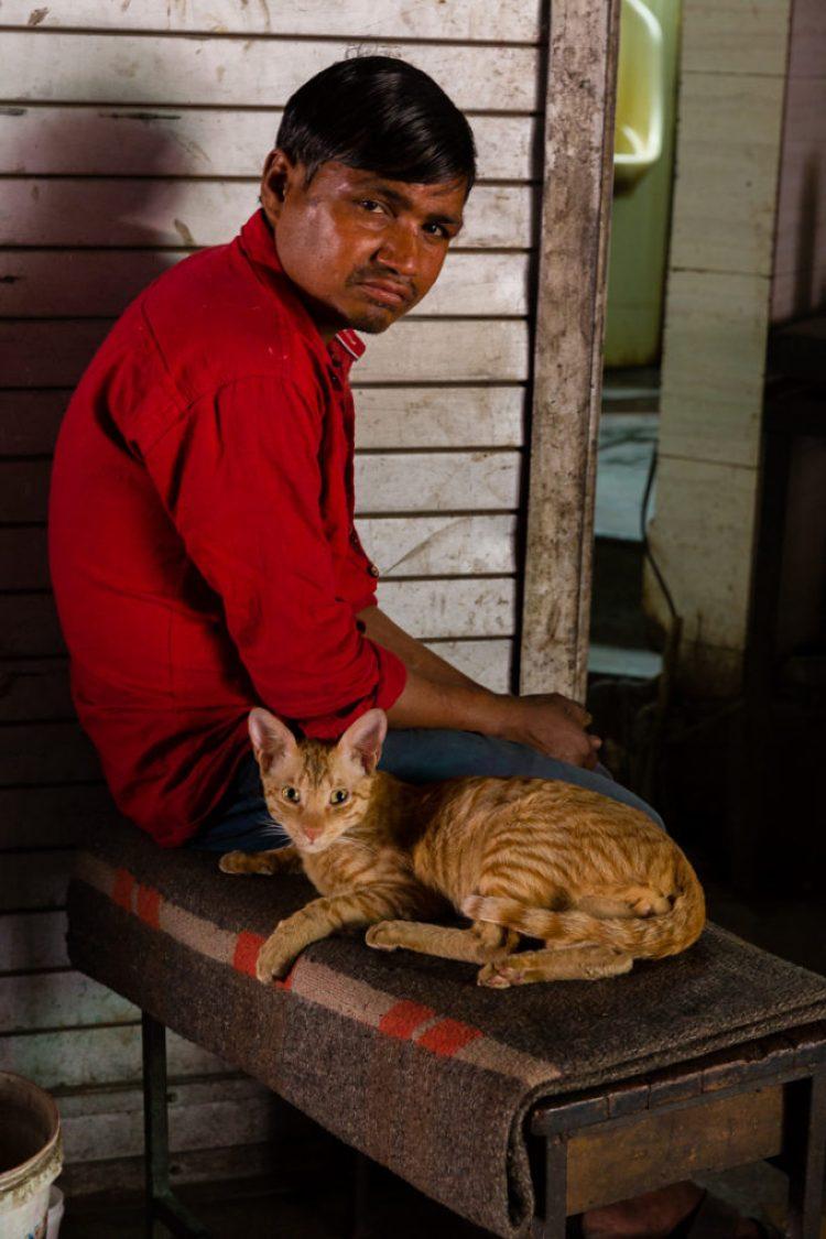 Old Delhi India, cat and man
