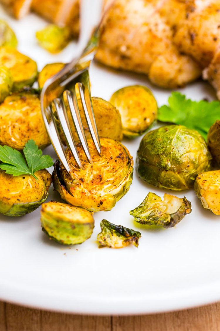 Delicious roasted Brussel sprouts and chicken