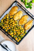 Sheet pan roasted brussels sprouts and chicken