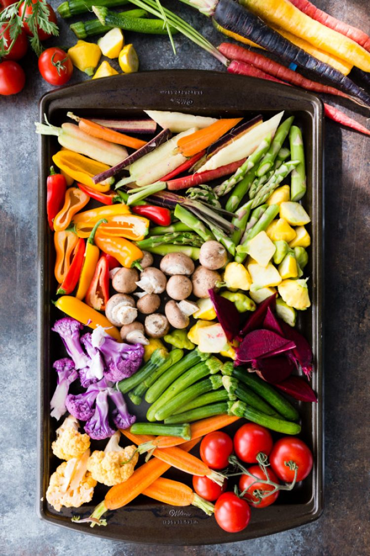 Roasting vegetables for a delicious crudite platter with sabra bean dip