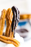 Easy to make churros with a chocolate dipping sauce