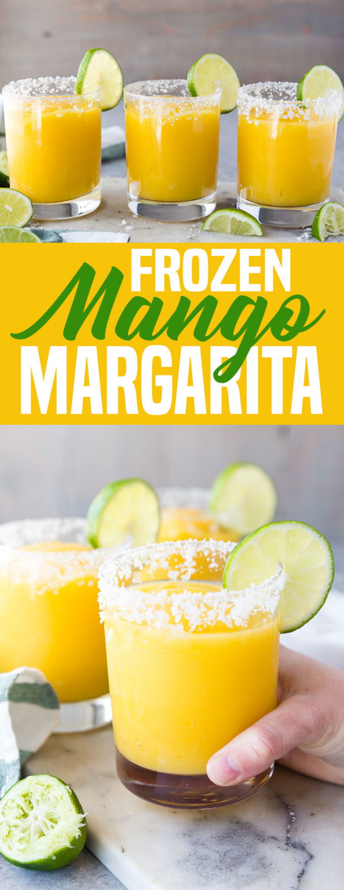 These Mango Margaritas are so good! Frozen margaritas (virgin) that taste so good. Toss in your favorite liquor to make them for adults.