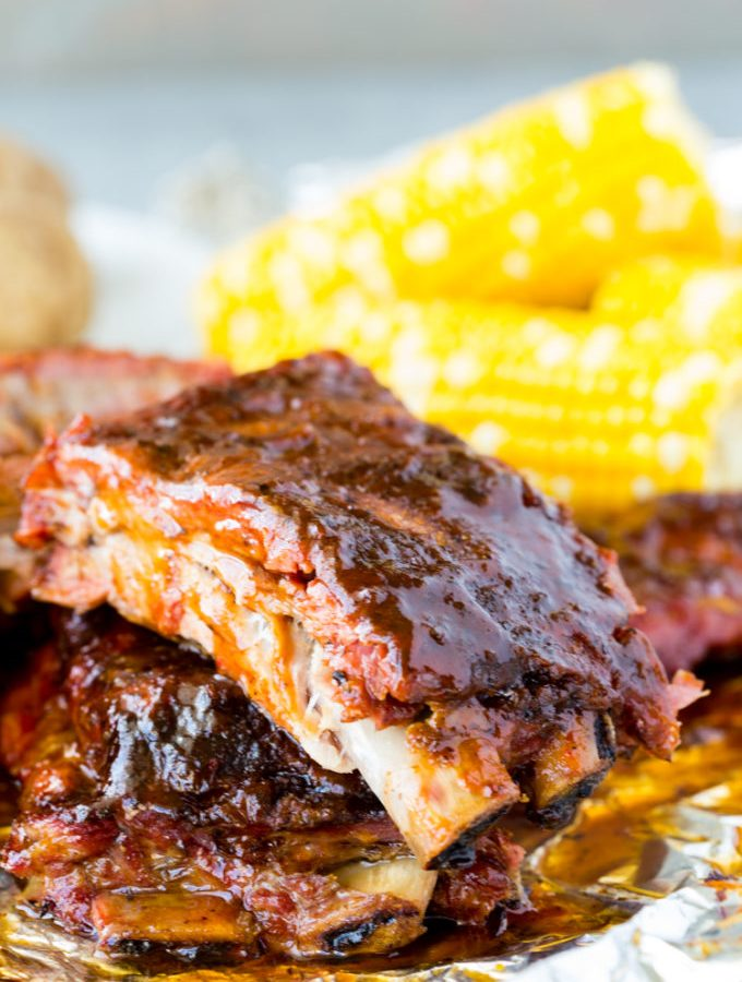 Fall off the bone (almost) tender BABY BACK RIBS, with a bbq sauce