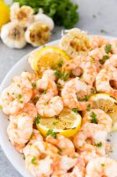 Garlic butter shrimp with fresh parsley and lemon