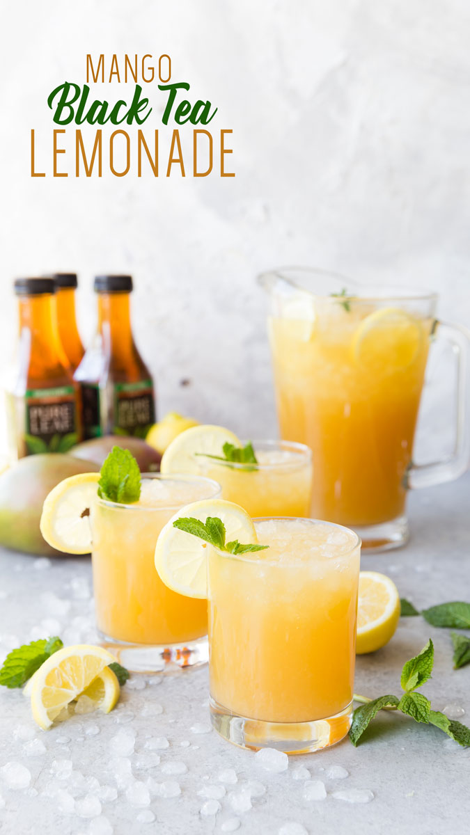 Mango Black Tea Lemonade- A fantastic summer beverage that is as refreshing as it is delicious. Made with fresh squeezed lemon juice, mango nectar, and black tea.