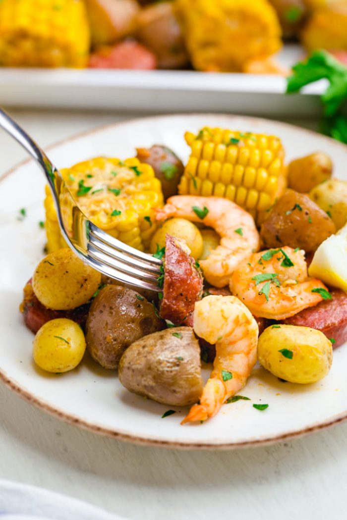 Sheet pan shrimp boil, a classic low country boil, made in the oven.