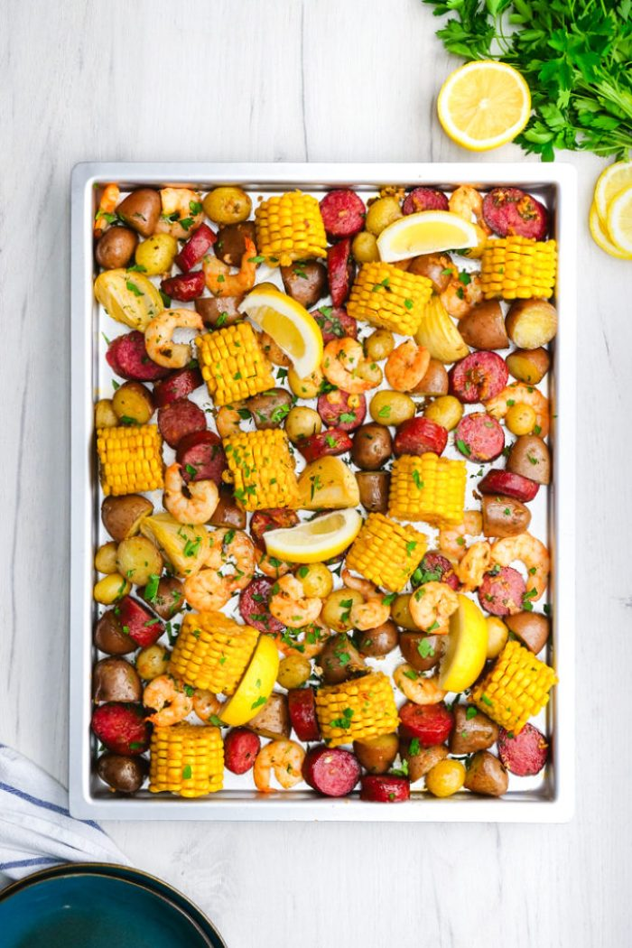 Oven baked shrimp boil, cooked on a sheet pan, low country boil