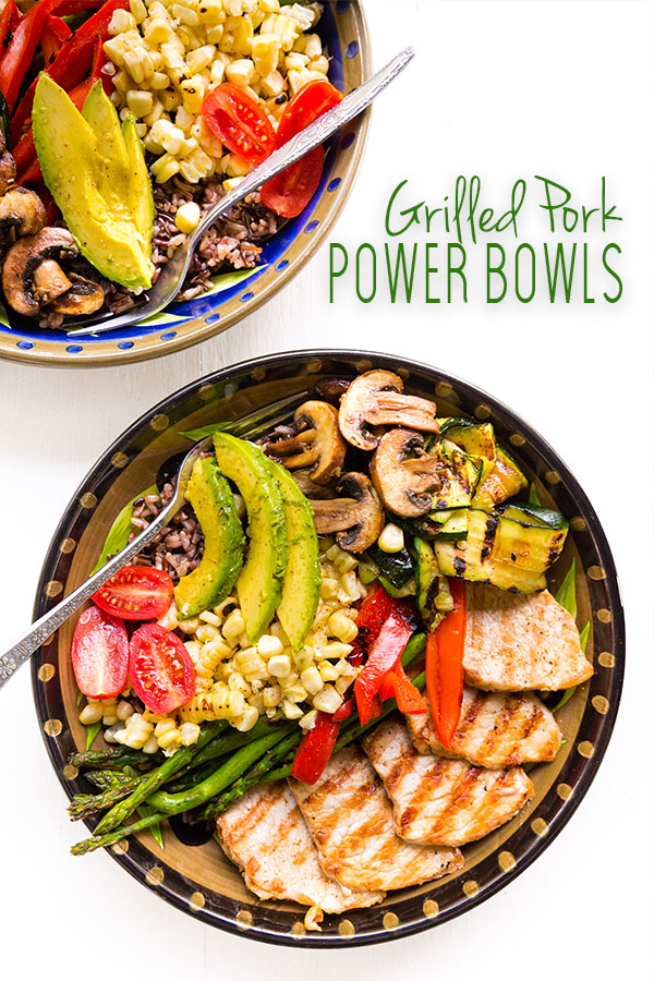Mesquite grilled pork, cut into medallions and paired with grilled veggies and wild rice for a grilled pork power bowl