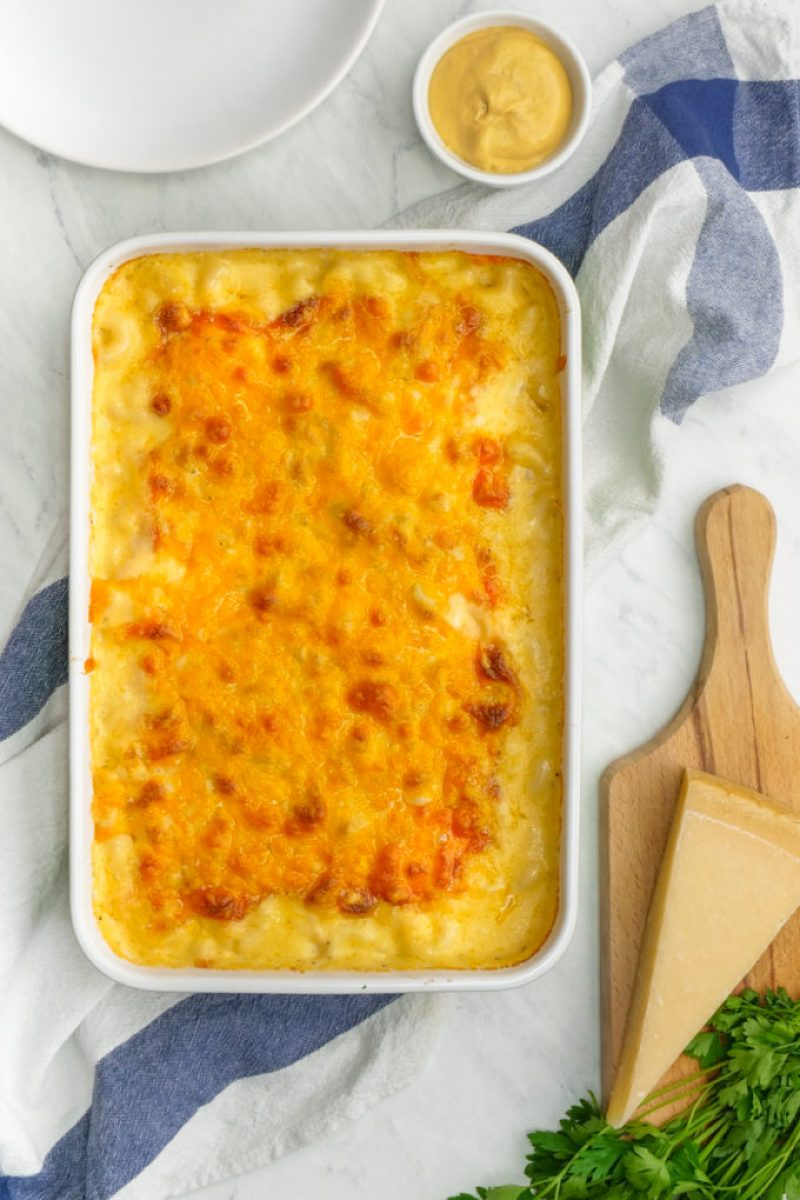 A large creamy Mac and cheese casserole