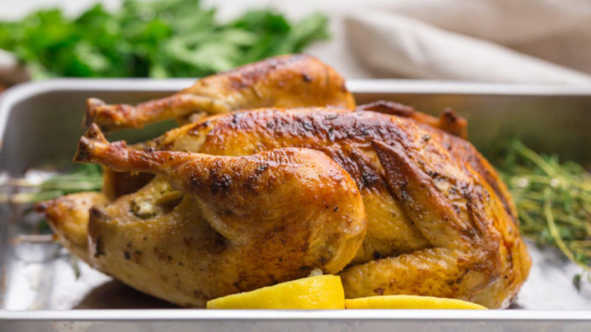 Crispy, golden skin oven roasted chicken