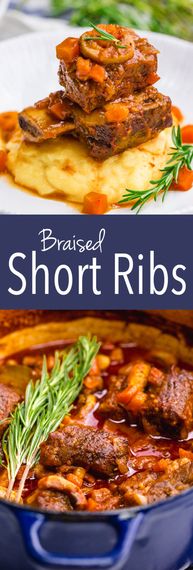 Braised Short Ribs: Deliciously braised in a tomato based sauce with veggies.