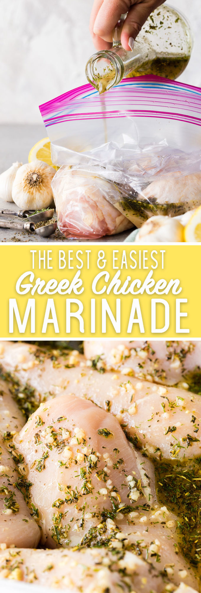 The easiest and best greek chicken marinade also doubles as a dressing!