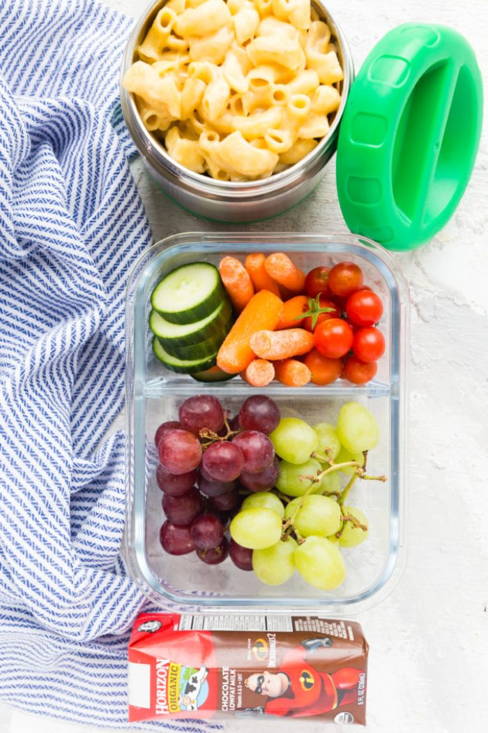 Instant Pot Mac and Cheese, Fruit, Vegetables, and Horizon Milk Box