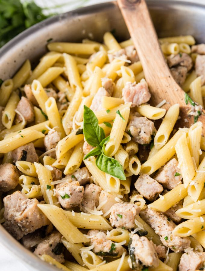 How to make a skillet full of penne pasta with pork