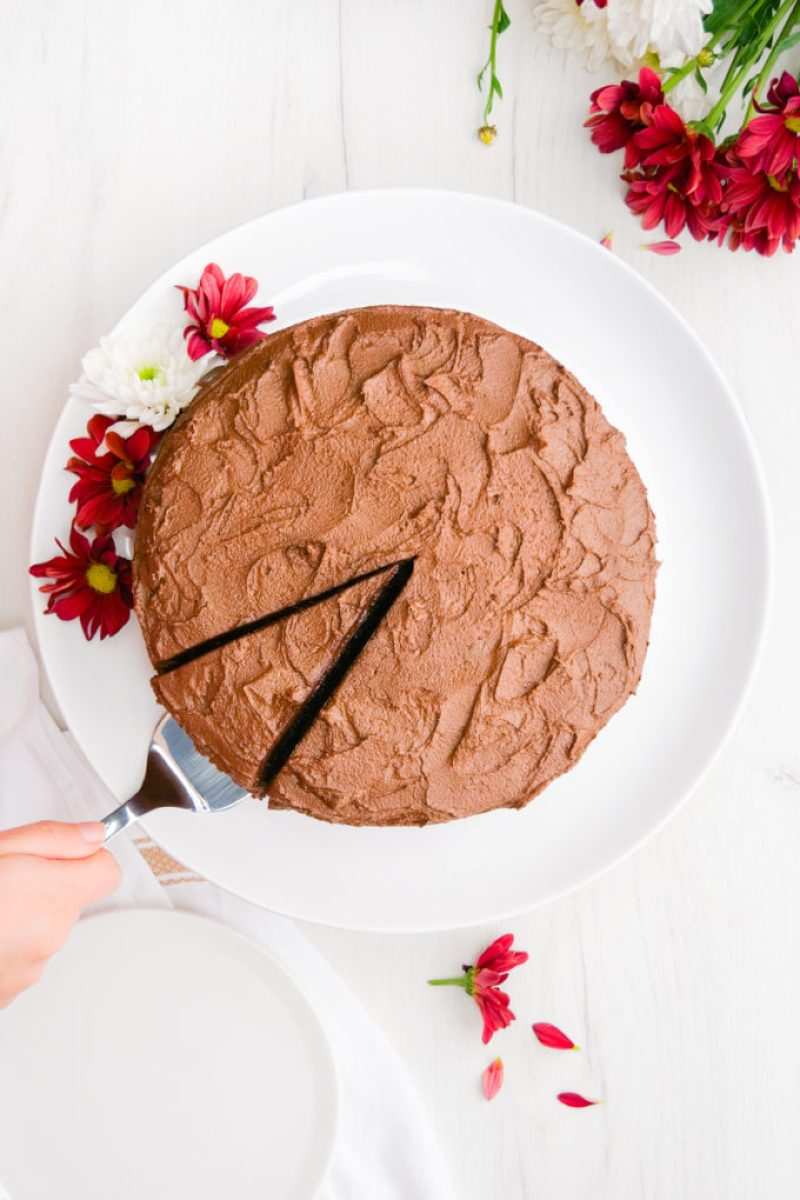 A top down view of a chocolate cake with a single slice cut, and a spatula pulling it out.