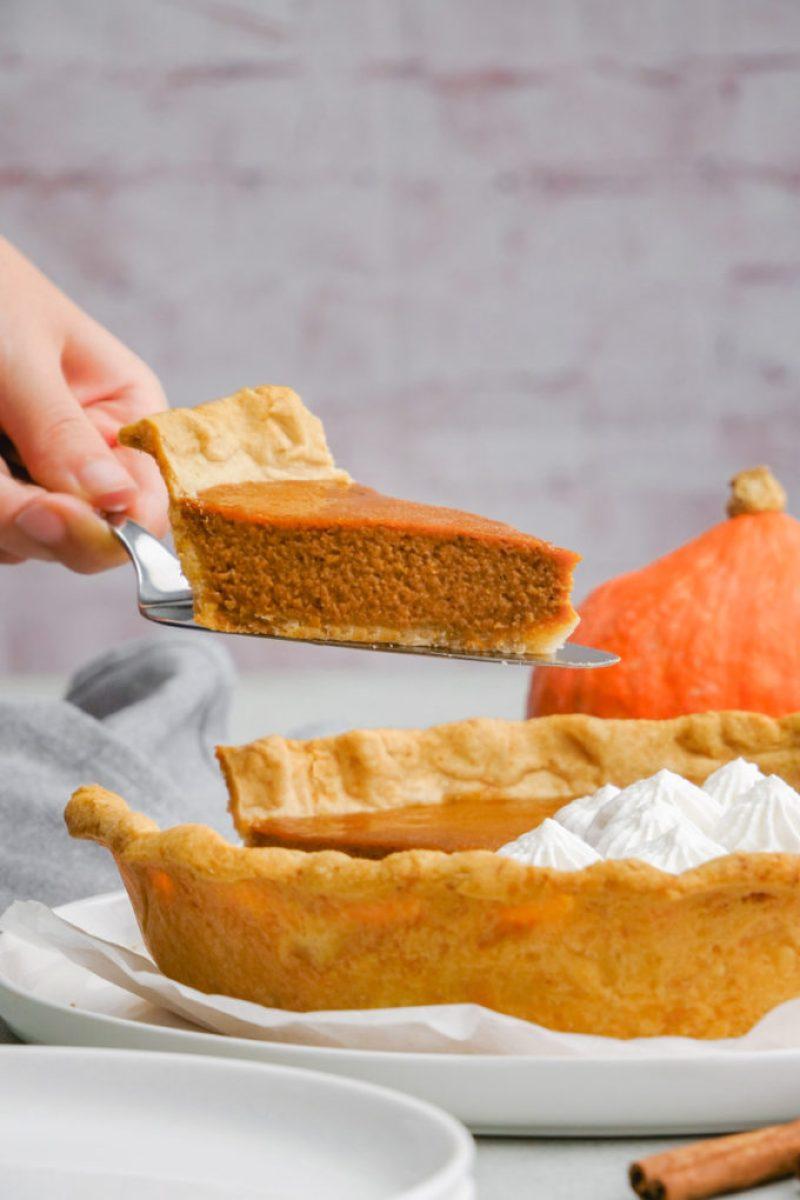 A lovely slice of homemade pumpkin pie, from a classic pumpkin pie recipe