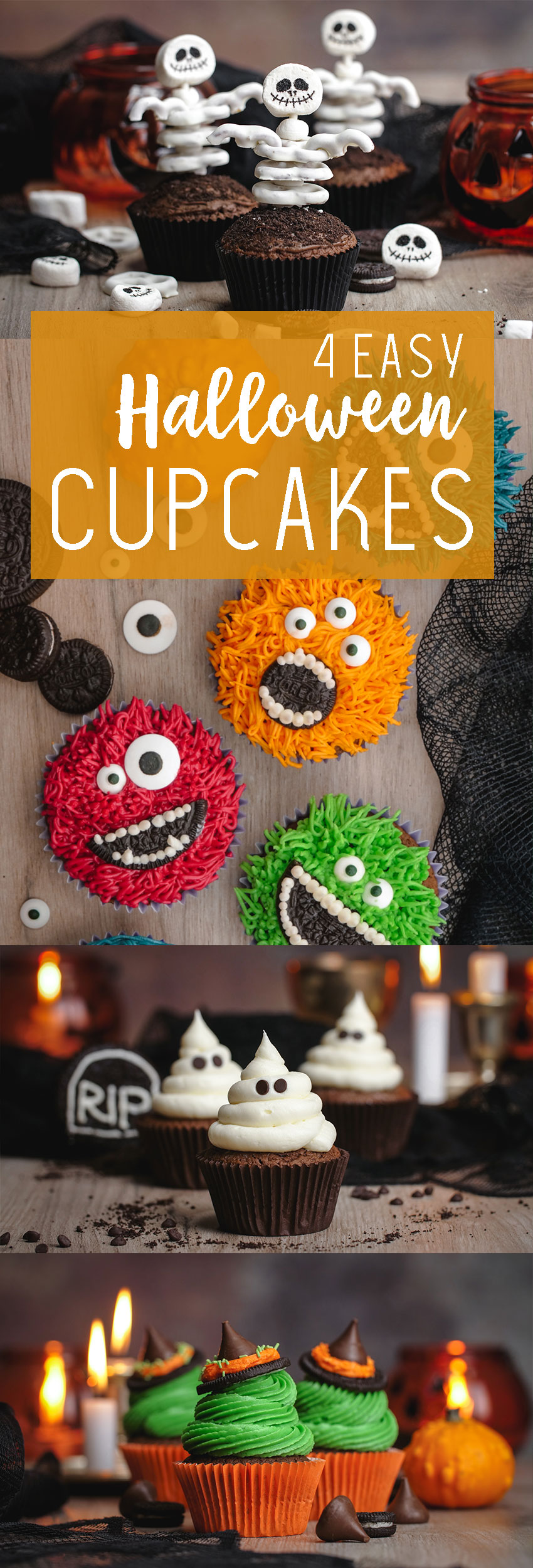 Halloween Cupcakes- 4 easy ideas for super cute Halloween cupcakes