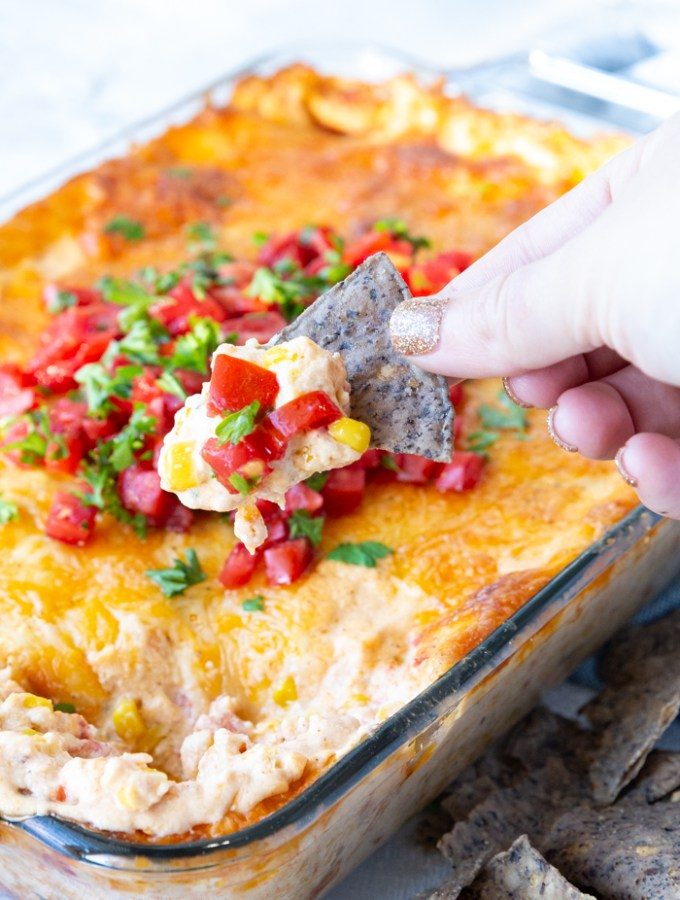 Cheesy corn dip is an excellent dip with tortilla chips