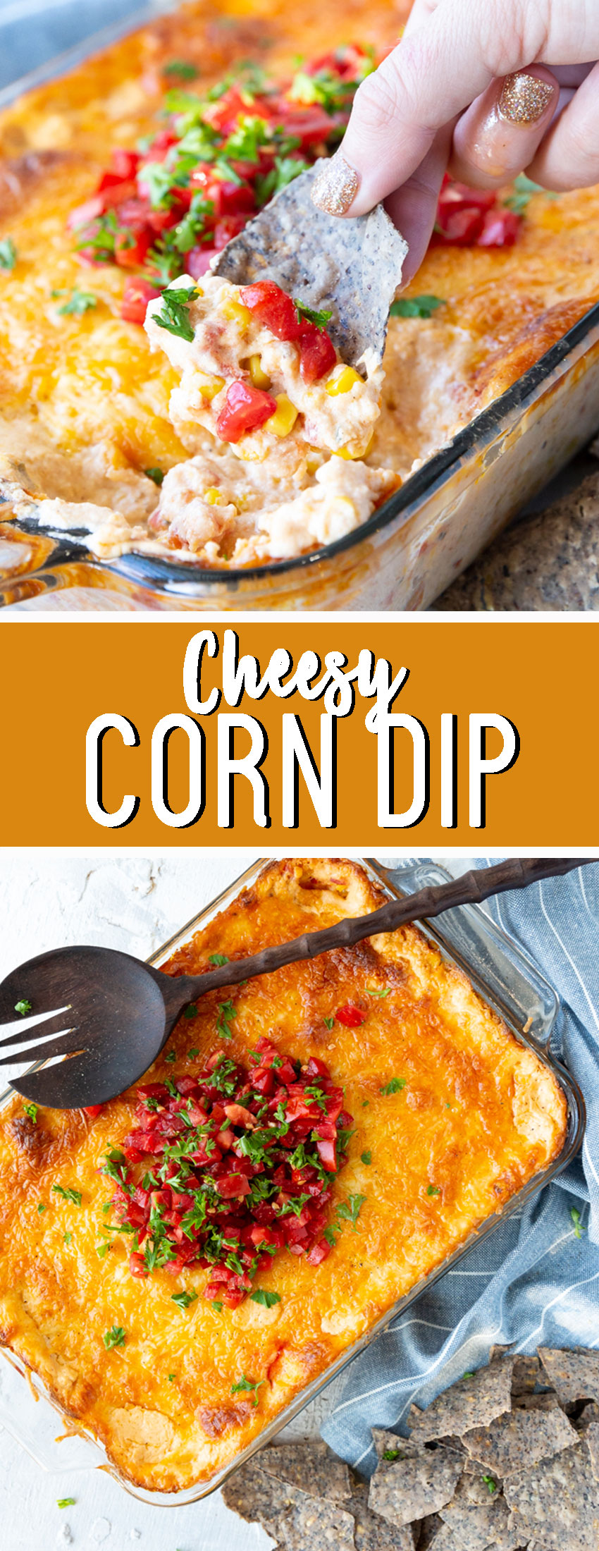 Cheesy corn dip: creamy, cheesy, and delicious with sweet corn, and topped with fresh tomatoes. This is such a good appetizer.