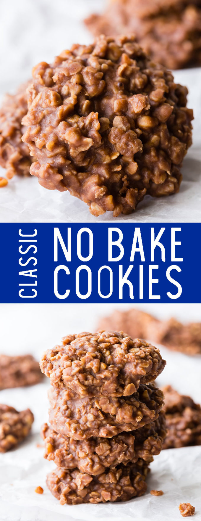 Classic no bake cookies, these chocolate and peanut butter treats are the best.