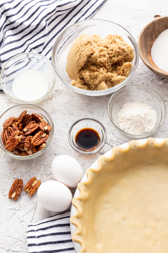 Ingredients for a pecan pie
