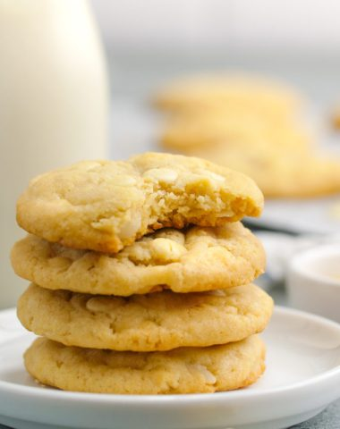 White chocolate macadamia cookies baked to crispy, chewy perfection
